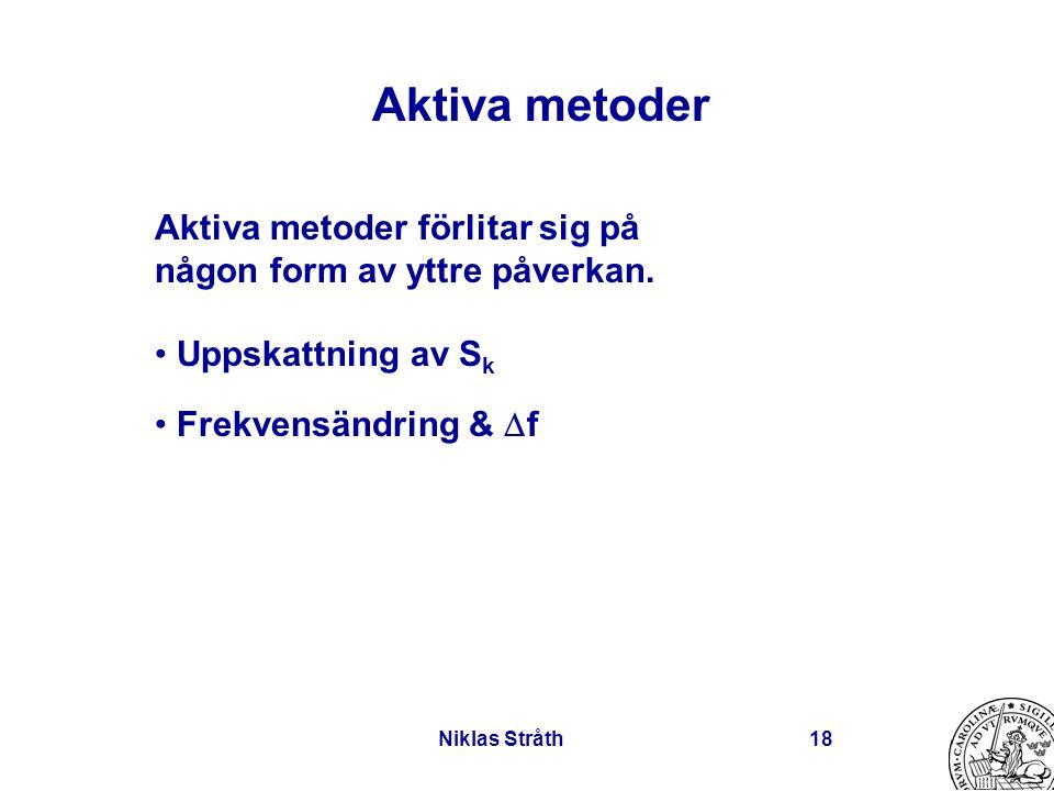 Niklas Stråth18 Aktiva metoder Aktiva metoder förlitar sig på någon form av yttre påverkan. Uppskattning av S k Frekvensändring &  f