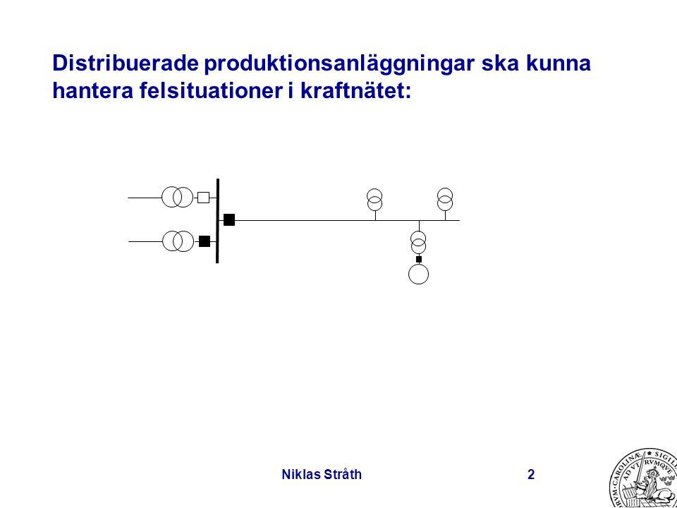 Niklas Stråth2 Distribuerade produktionsanläggningar ska kunna hantera felsituationer i kraftnätet:
