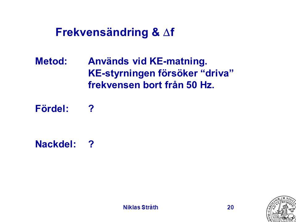 """Niklas Stråth20 Frekvensändring &  f Används vid KE-matning. KE-styrningen försöker """"driva"""" frekvensen bort från 50 Hz. ? ? Metod: Fördel: Nackdel:"""