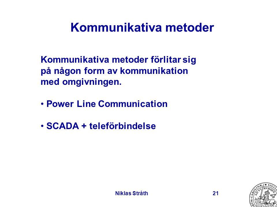 Niklas Stråth21 Kommunikativa metoder Kommunikativa metoder förlitar sig på någon form av kommunikation med omgivningen. Power Line Communication SCAD
