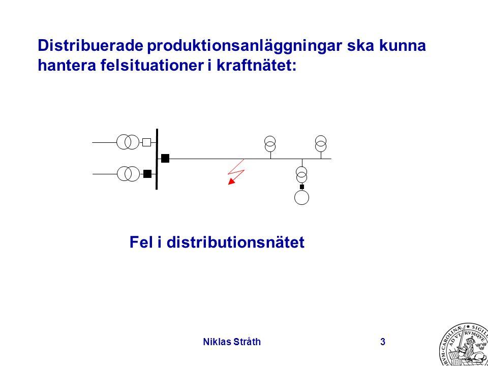Niklas Stråth3 Distribuerade produktionsanläggningar ska kunna hantera felsituationer i kraftnätet: Fel i distributionsnätet