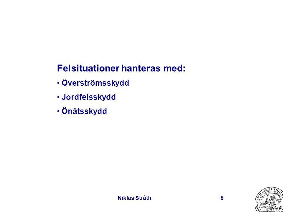 Niklas Stråth6 Felsituationer hanteras med: Överströmsskydd Jordfelsskydd Önätsskydd