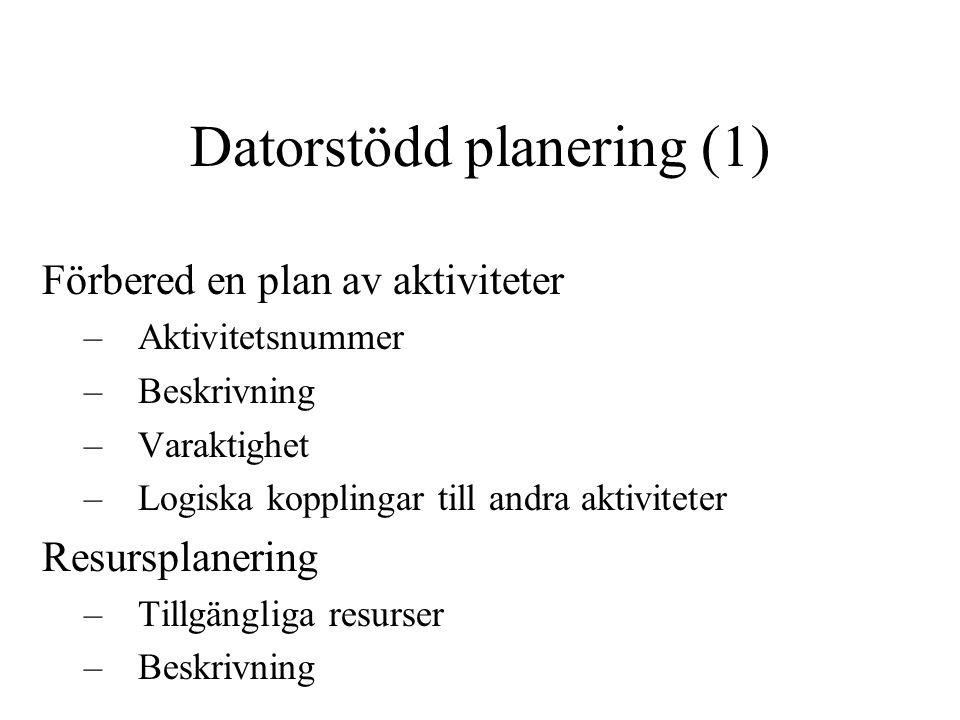 Datorstödd planering (1) Förbered en plan av aktiviteter –Aktivitetsnummer –Beskrivning –Varaktighet –Logiska kopplingar till andra aktiviteter Resurs