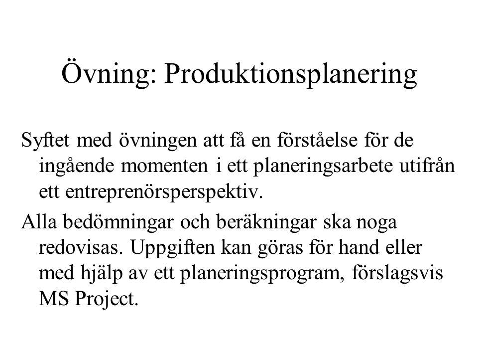 Övning: Produktionsplanering Syftet med övningen att få en förståelse för de ingående momenten i ett planeringsarbete utifrån ett entreprenörsperspekt