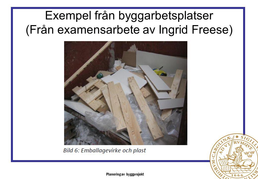 Planering av byggprojekt Exempel från byggarbetsplatser (Från examensarbete av Ingrid Freese)