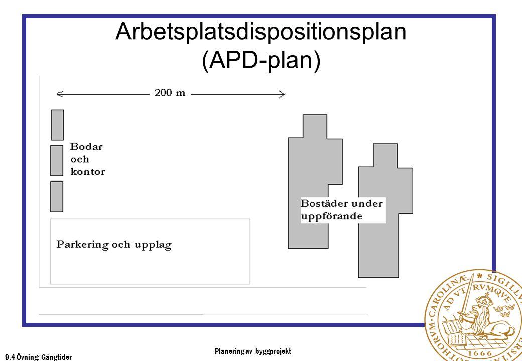 Planering av byggprojekt 9.4 Övning: Gångtider Arbetsplatsdispositionsplan (APD-plan)