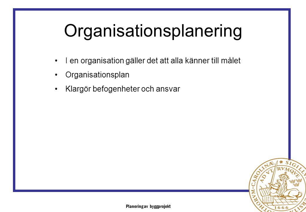Organisationsplanering I en organisation gäller det att alla känner till målet Organisationsplan Klargör befogenheter och ansvar