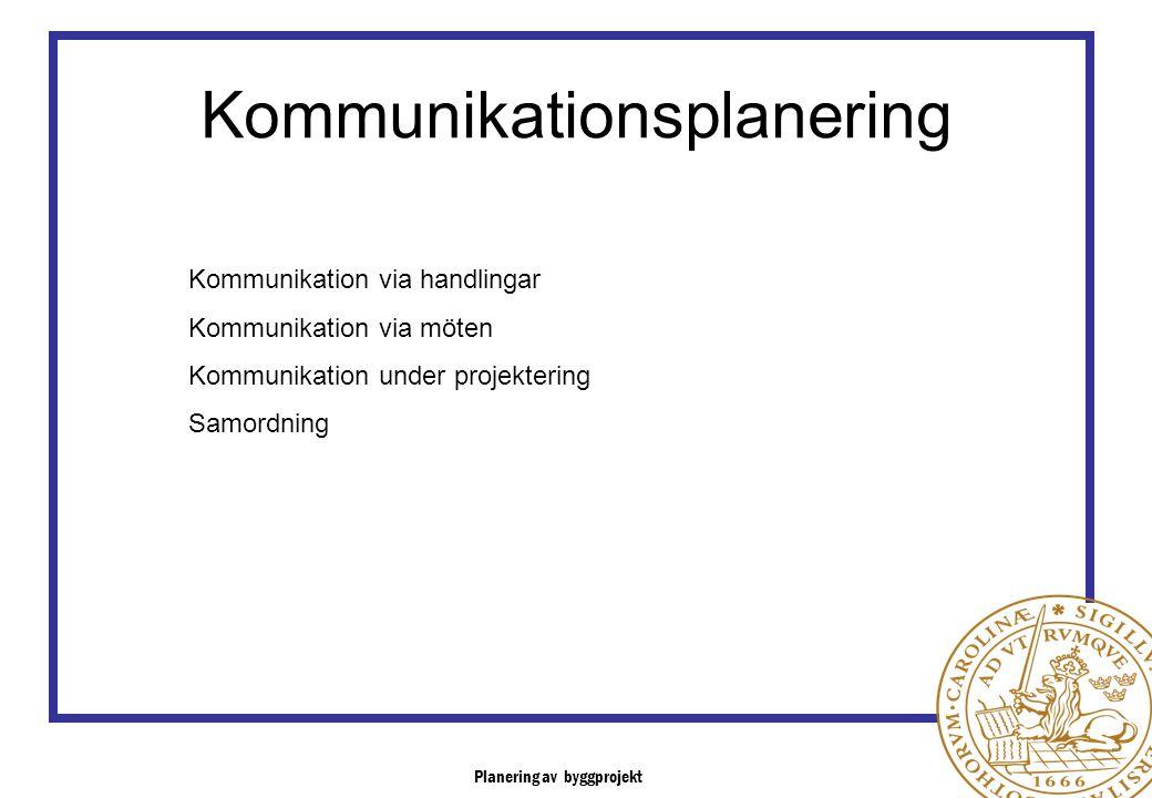 Planering av byggprojekt Kommunikationsplanering Kommunikation via handlingar Kommunikation via möten Kommunikation under projektering Samordning