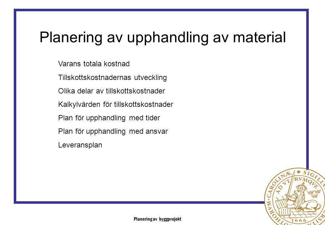 Planering av byggprojekt Planering av upphandling av material Varans totala kostnad Tillskottskostnadernas utveckling Olika delar av tillskottskostnad