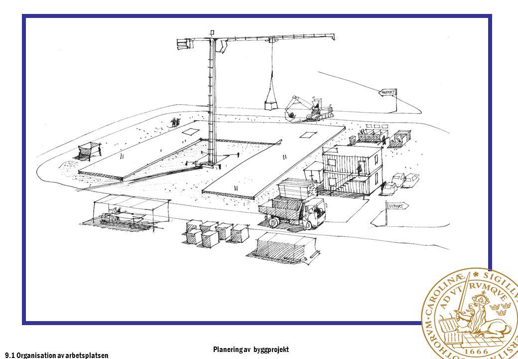 Planering av byggprojekt 9.1 Organisation av arbetsplatsen