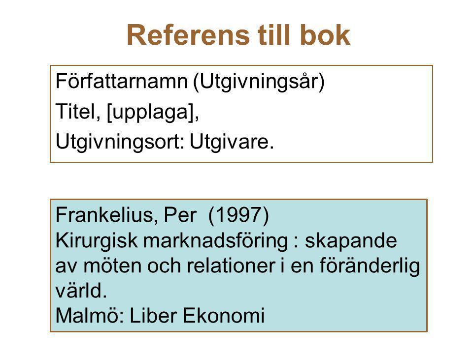 Referens till bok Författarnamn (Utgivningsår) Titel, [upplaga], Utgivningsort: Utgivare. Frankelius, Per (1997) Kirurgisk marknadsföring : skapande a
