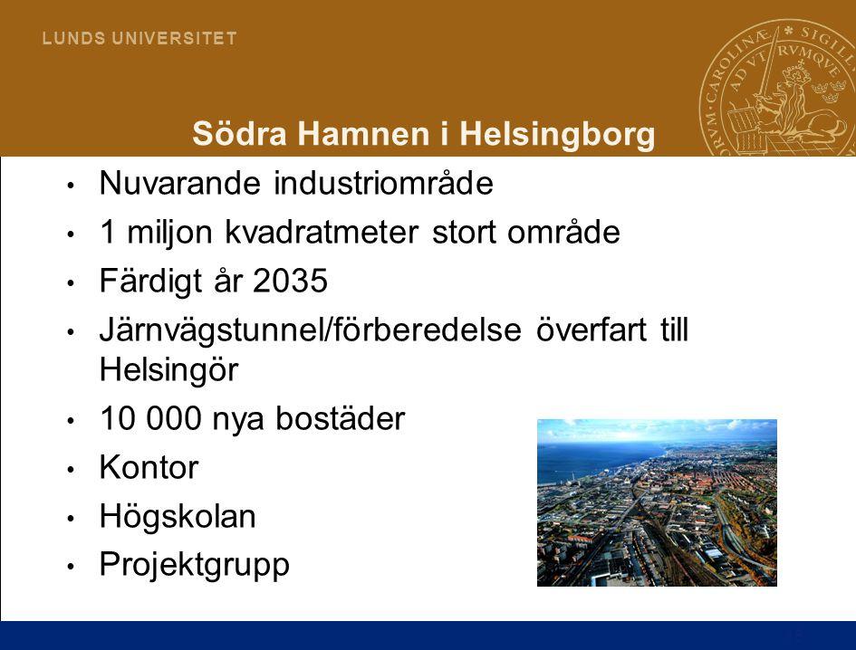 18 L U N D S U N I V E R S I T E T Södra Hamnen i Helsingborg Nuvarande industriområde 1 miljon kvadratmeter stort område Färdigt år 2035 Järnvägstunn