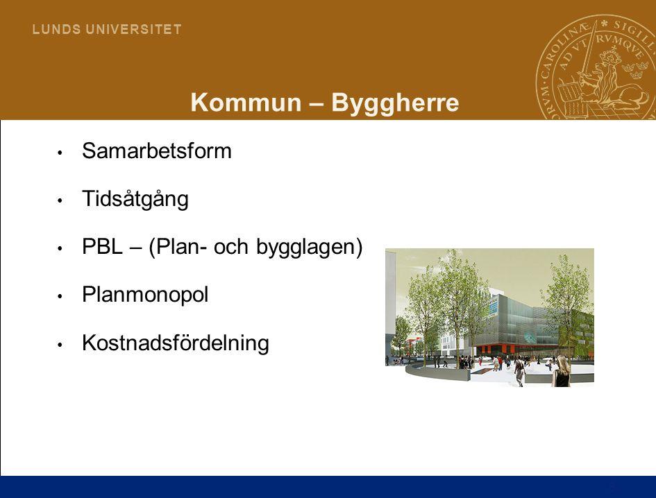 6 L U N D S U N I V E R S I T E T Kommun – Byggherre Samarbetsform Tidsåtgång PBL – (Plan- och bygglagen) Planmonopol Kostnadsfördelning