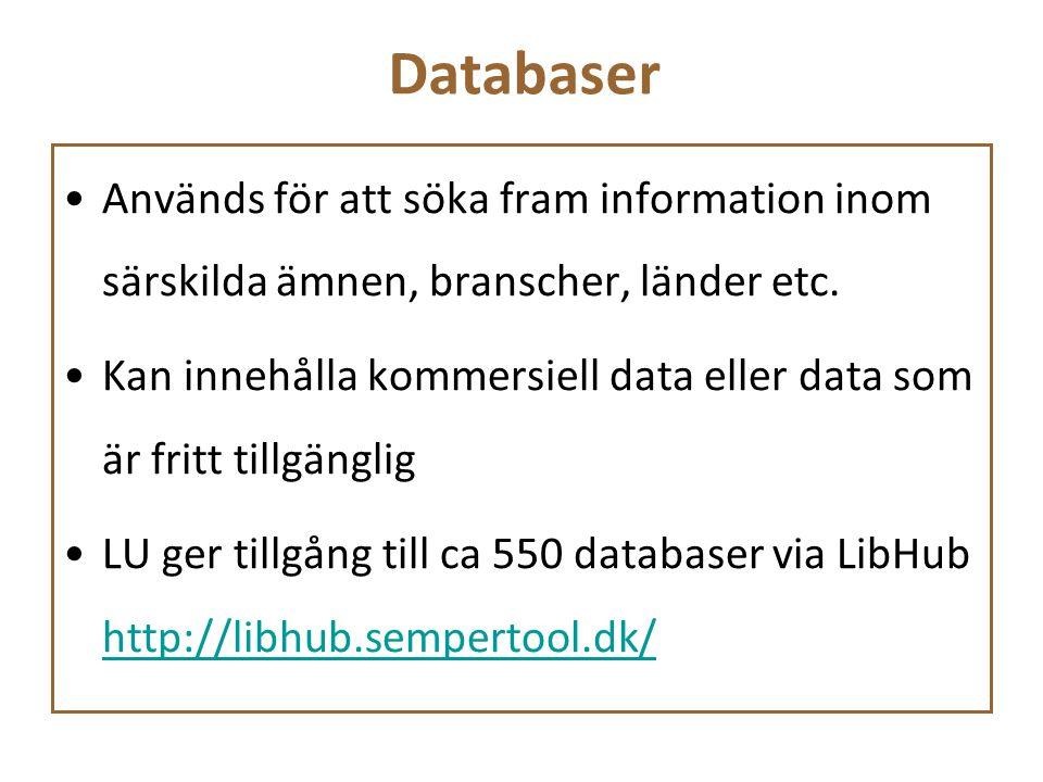 Databaser Används för att söka fram information inom särskilda ämnen, branscher, länder etc. Kan innehålla kommersiell data eller data som är fritt ti