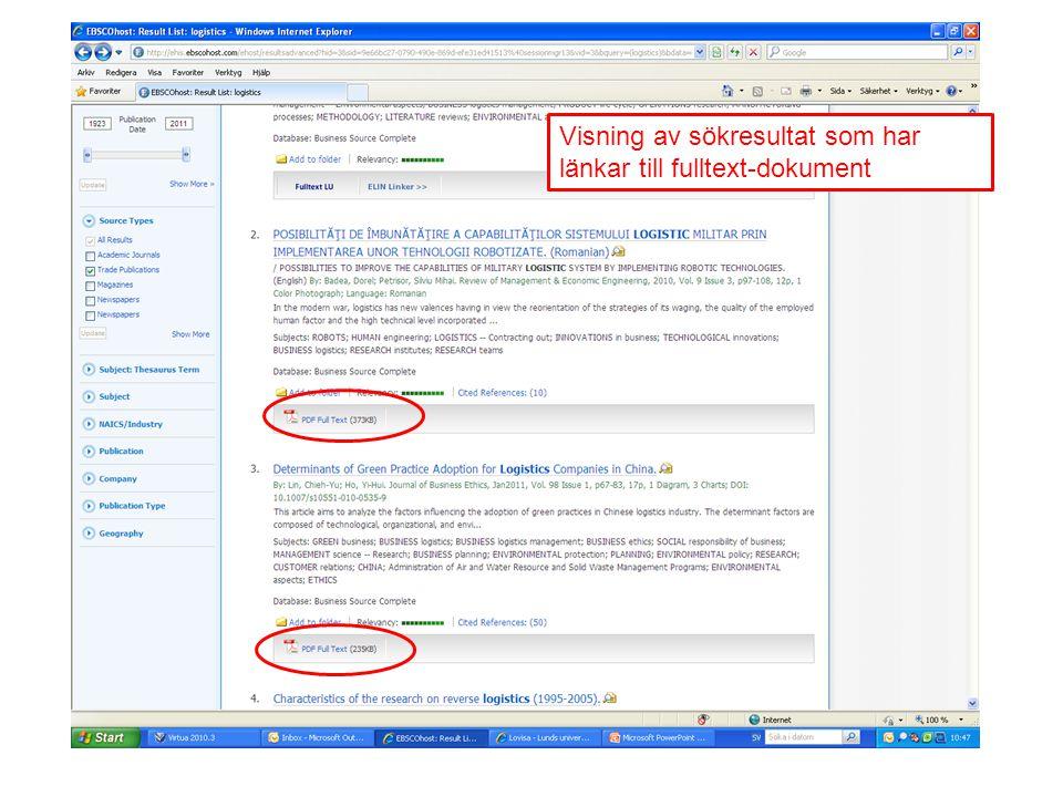 Visning av sökresultat som har länkar till fulltext-dokument