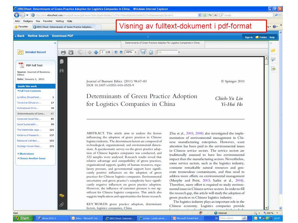 Visning av fulltext-dokument i pdf-format