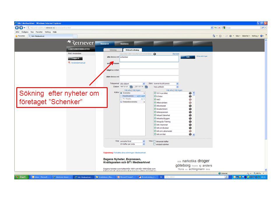 """Sökning efter nyheter om företaget """"Schenker"""""""