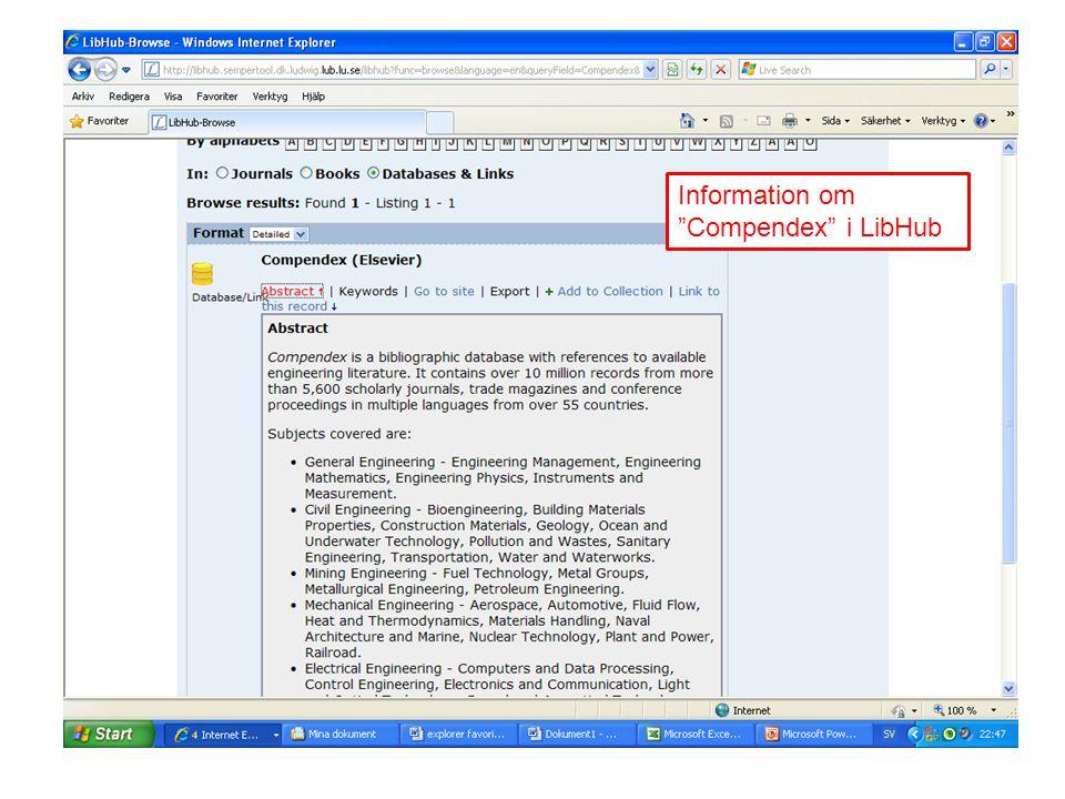 "Information om ""Compendex"" i LibHub"