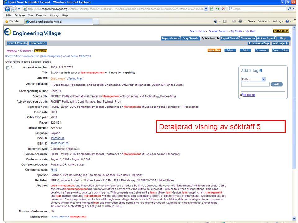 Detaljerad visning av sökträff 5