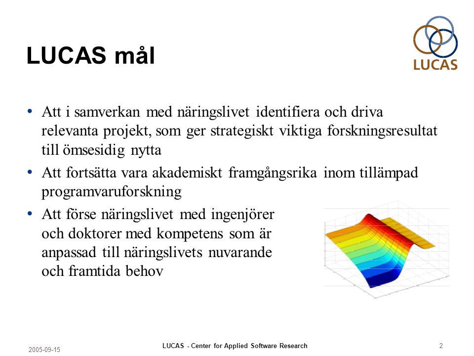 2005-09-15 LUCAS - Center for Applied Software Research2 LUCAS mål Att i samverkan med näringslivet identifiera och driva relevanta projekt, som ger s