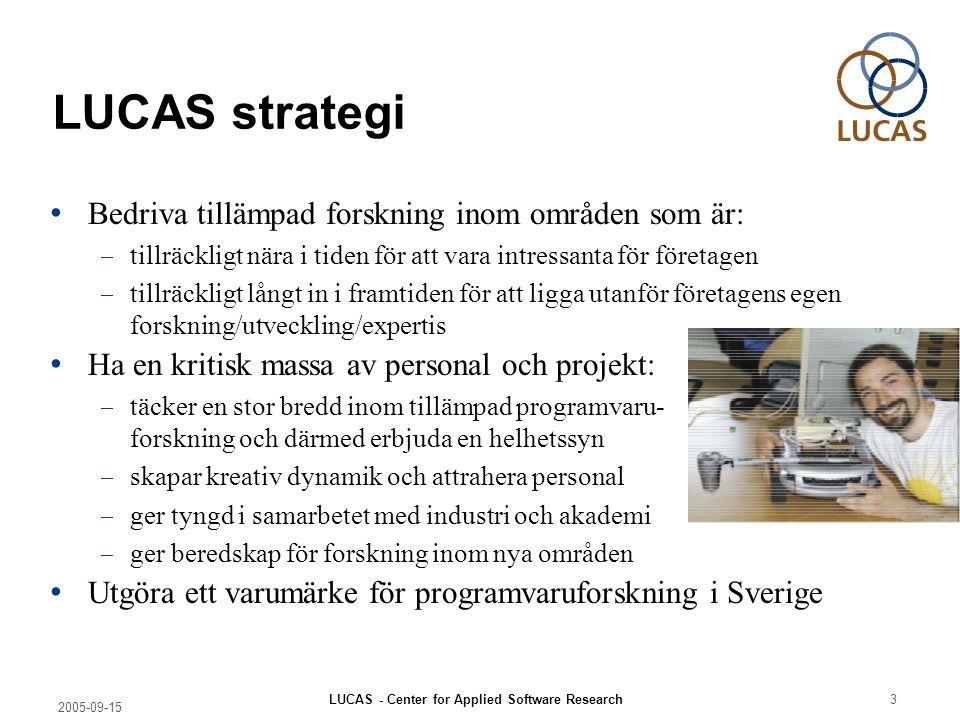 2005-09-15 LUCAS - Center for Applied Software Research3 LUCAS strategi Bedriva tillämpad forskning inom områden som är:  tillräckligt nära i tiden f
