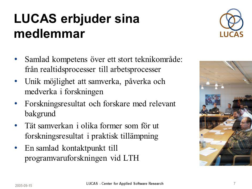2005-09-15 LUCAS - Center for Applied Software Research7 LUCAS erbjuder sina medlemmar Samlad kompetens över ett stort teknikområde: från realtidsproc