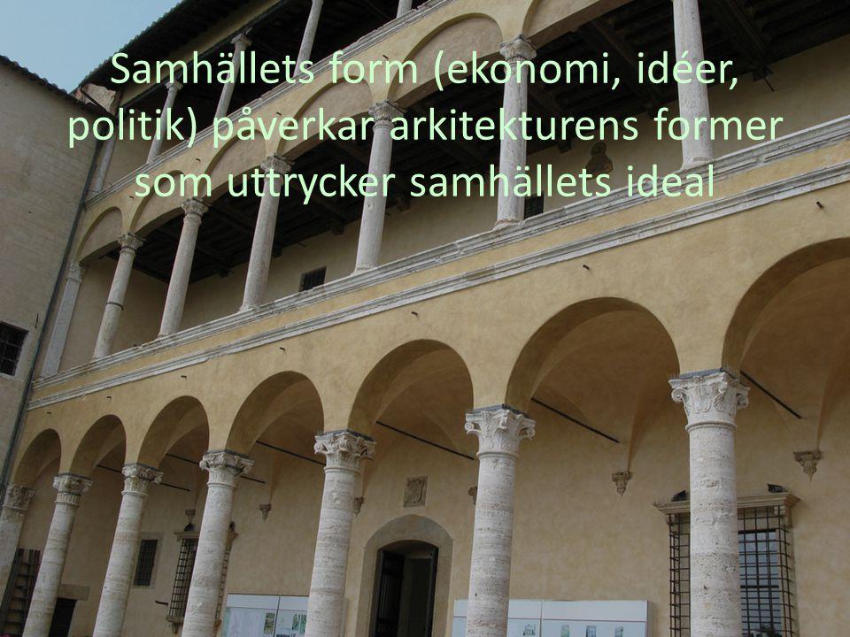 Samhällets form (ekonomi, idéer, politik) påverkar arkitekturens former som uttrycker samhällets ideal
