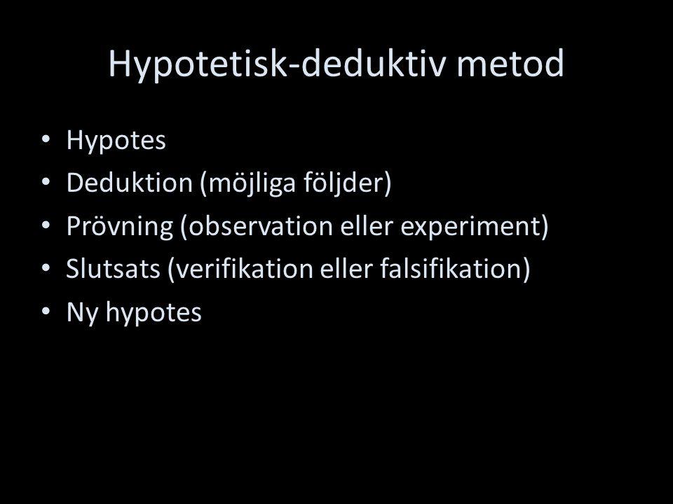 Hypotetisk-deduktiv metod Hypotes Deduktion (möjliga följder) Prövning (observation eller experiment) Slutsats (verifikation eller falsifikation) Ny hypotes