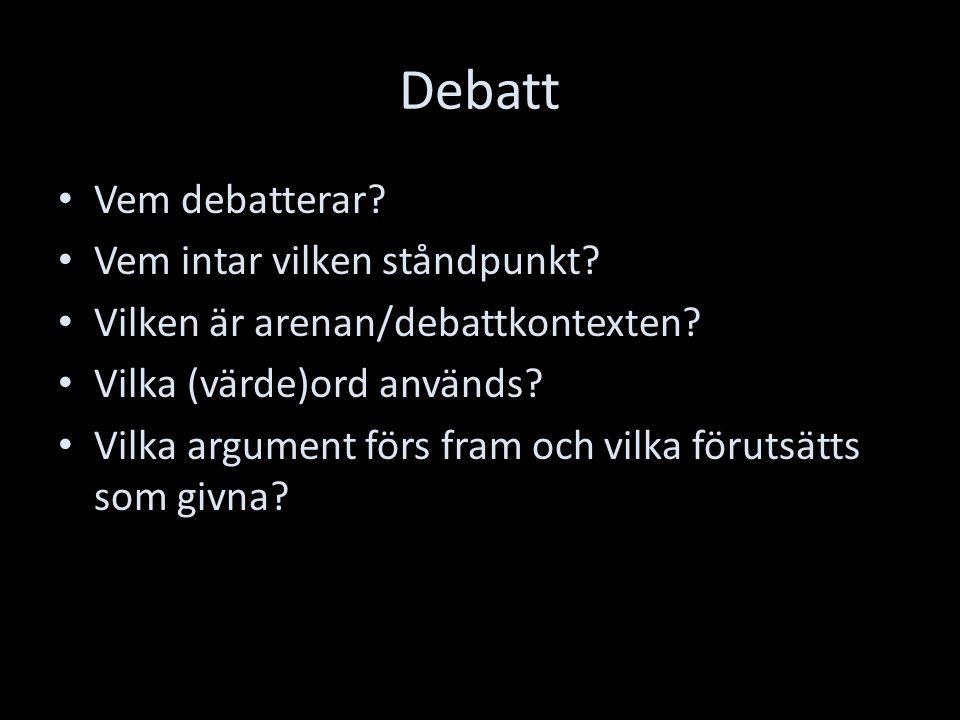 Debatt Vem debatterar. Vem intar vilken ståndpunkt.