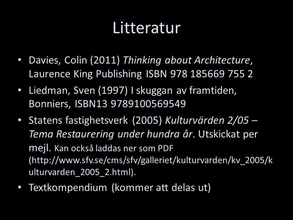 Litteratur Davies, Colin (2011) Thinking about Architecture, Laurence King Publishing ISBN 978 185669 755 2 Liedman, Sven (1997) I skuggan av framtiden, Bonniers, ISBN13 9789100569549 Statens fastighetsverk (2005) Kulturvärden 2/05 – Tema Restaurering under hundra år.