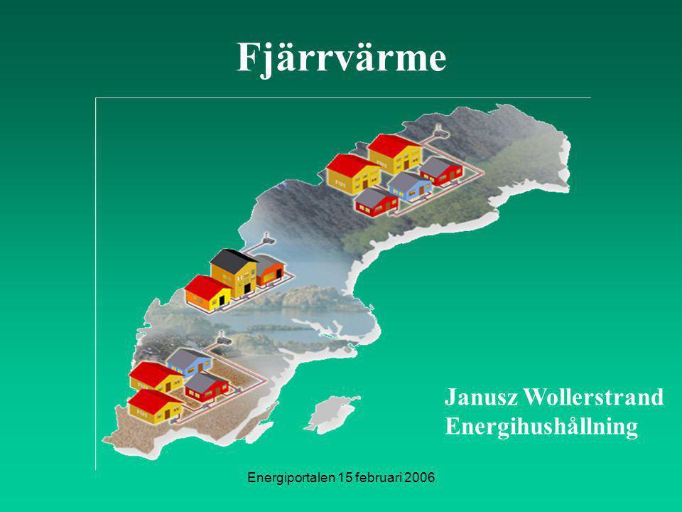 Energiportalen 15 februari 2006 Janusz Wollerstrand Energihushållning Fjärrvärme