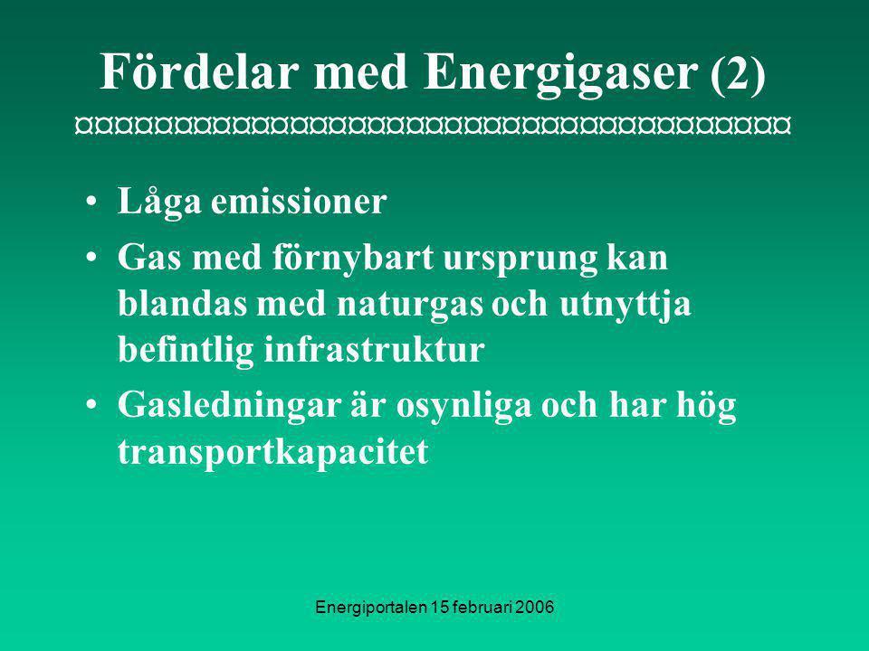 Energiportalen 15 februari 2006 Fördelar med Energigaser (2) ¤¤¤¤¤¤¤¤¤¤¤¤¤¤¤¤¤¤¤¤¤¤¤¤¤¤¤¤¤¤¤¤¤¤¤¤¤ Låga emissioner Gas med förnybart ursprung kan blandas med naturgas och utnyttja befintlig infrastruktur Gasledningar är osynliga och har hög transportkapacitet
