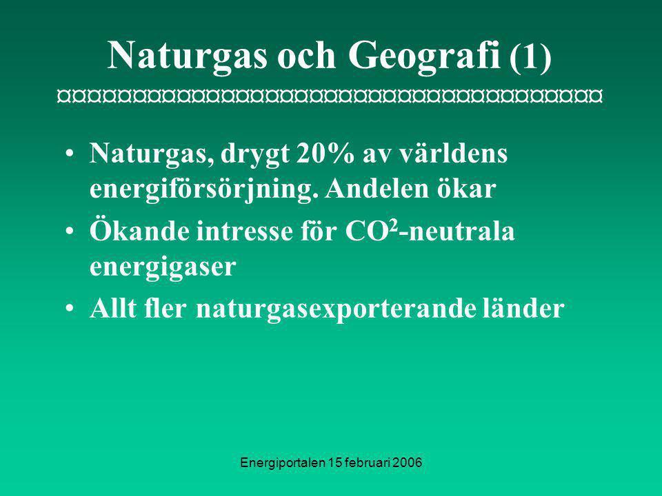 Energiportalen 15 februari 2006 Naturgas och Geografi (1) ¤¤¤¤¤¤¤¤¤¤¤¤¤¤¤¤¤¤¤¤¤¤¤¤¤¤¤¤¤¤¤¤¤¤¤¤¤ Naturgas, drygt 20% av världens energiförsörjning.