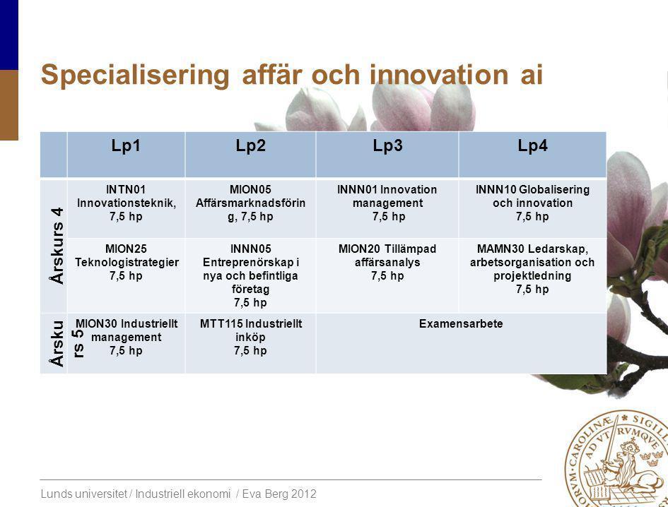 Lunds universitet / Industriell ekonomi / Eva Berg 2012 Specialiseringaffär och innovation ai Lp1Lp2Lp3Lp4 Årskurs 4 INTN01 Innovationsteknik, 7,5 hp MION05 Affärsmarknadsförin g, 7,5 hp INNN01 Innovation management 7,5 hp INNN10 Globalisering och innovation 7,5 hp MION25 Teknologistrategier 7,5 hp INNN05 Entreprenörskap i nya och befintliga företag 7,5 hp MION20 Tillämpad affärsanalys 7,5 hp MAMN30 Ledarskap, arbetsorganisation och projektledning 7,5 hp Årsku rs 5 MION30 Industriellt management 7,5 hp MTT115 Industriellt inköp 7,5 hp Examensarbete