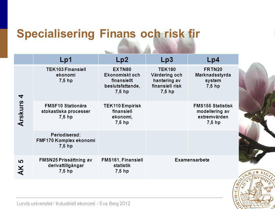 Lunds universitet / Industriell ekonomi / Eva Berg 2012 SpecialiseringFinans och risk fir Lp1Lp2Lp3Lp4 Årskurs 4 TEK103 Finansiell ekonomi 7,5 hp EXTN80 Ekonomiskt och finansiellt beslutsfattande, 7,5 hp TEK180 Värdering och hantering av finansiell risk 7,5 hp FRTN20 Marknadsstyrda system 7,5 hp FMSF10 Stationära stokastiska processer 7,5 hp TEK110 Empirisk finansiell ekonomi, 7,5 hp FMS155 Statistisk modellering av extremvärden 7,5 hp Periodiserad: FMF170 Komplex ekonomi 7,5 hp ÅK 5 FMSN25 Prissättning av derivattillgångar 7,5 hp FMS161, Finansiell statistik 7,5 hp Examensarbete