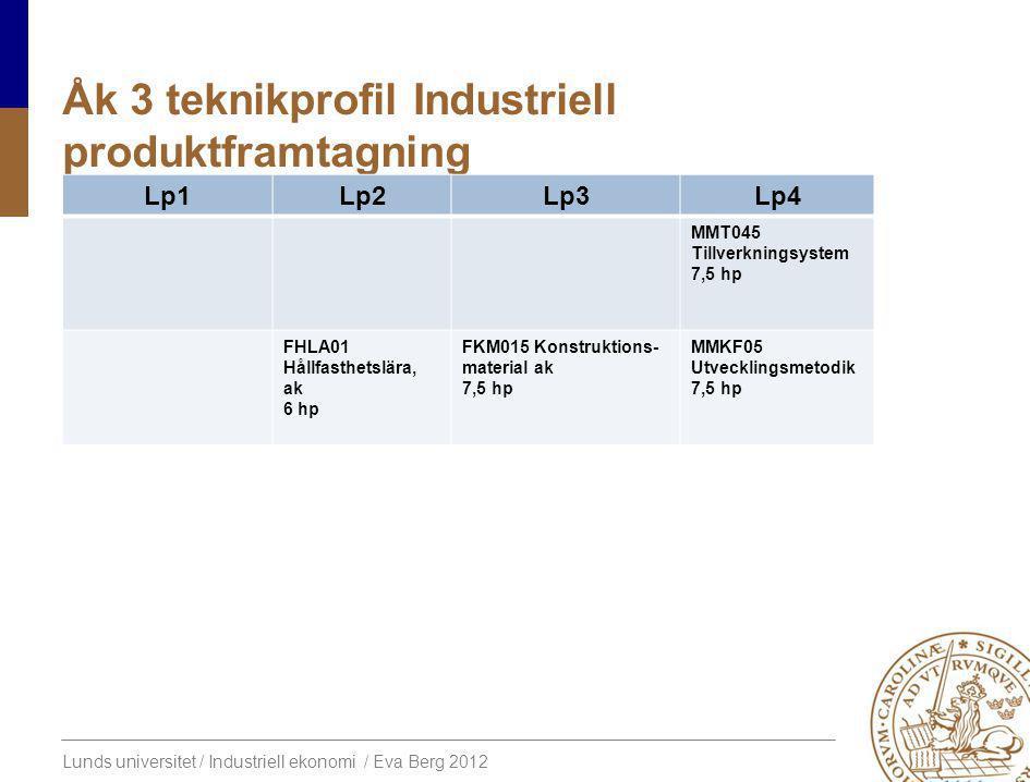 Lunds universitet / Industriell ekonomi / Eva Berg 2012 Åk 3 teknikprofil Industriell produktframtagning Lp1Lp2Lp3Lp4 MMT045 Tillverkningsystem 7,5 hp