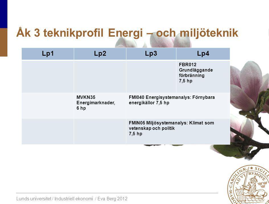 Lunds universitet / Industriell ekonomi / Eva Berg 2012 Åk 3 teknikprofil Energi – och miljöteknik Lp1Lp2Lp3Lp4 FBR012 Grundläggande förbränning 7,5 hp MVKN35 Energimarknader, 6 hp FMI040 Energisystemanalys: Förnybara energikällor 7,5 hp FMIN05 Miljösystemanalys: Klimat som vetenskap och politik 7,5 hp