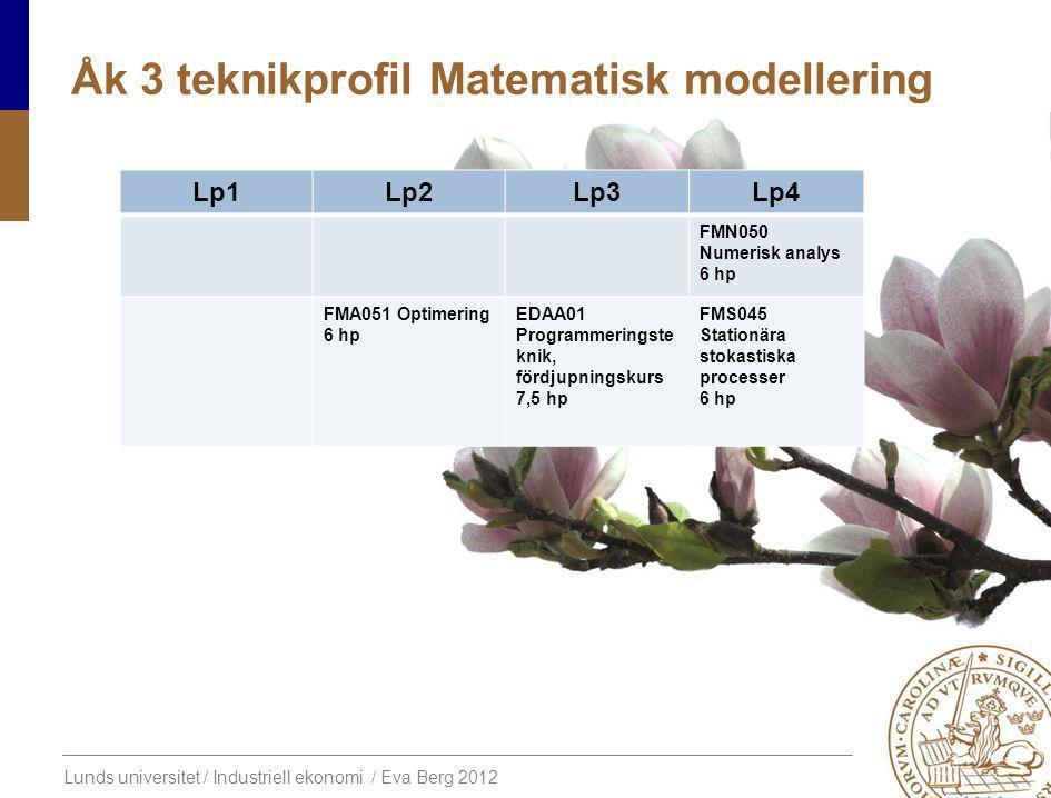 Lunds universitet / Industriell ekonomi / Eva Berg 2012 Åk 3 teknikprofil Matematisk modellering Lp1Lp2Lp3Lp4 FMN050 Numerisk analys 6 hp FMA051 Optimering 6 hp EDAA01 Programmeringste knik, fördjupningskurs 7,5 hp FMS045 Stationära stokastiska processer 6 hp