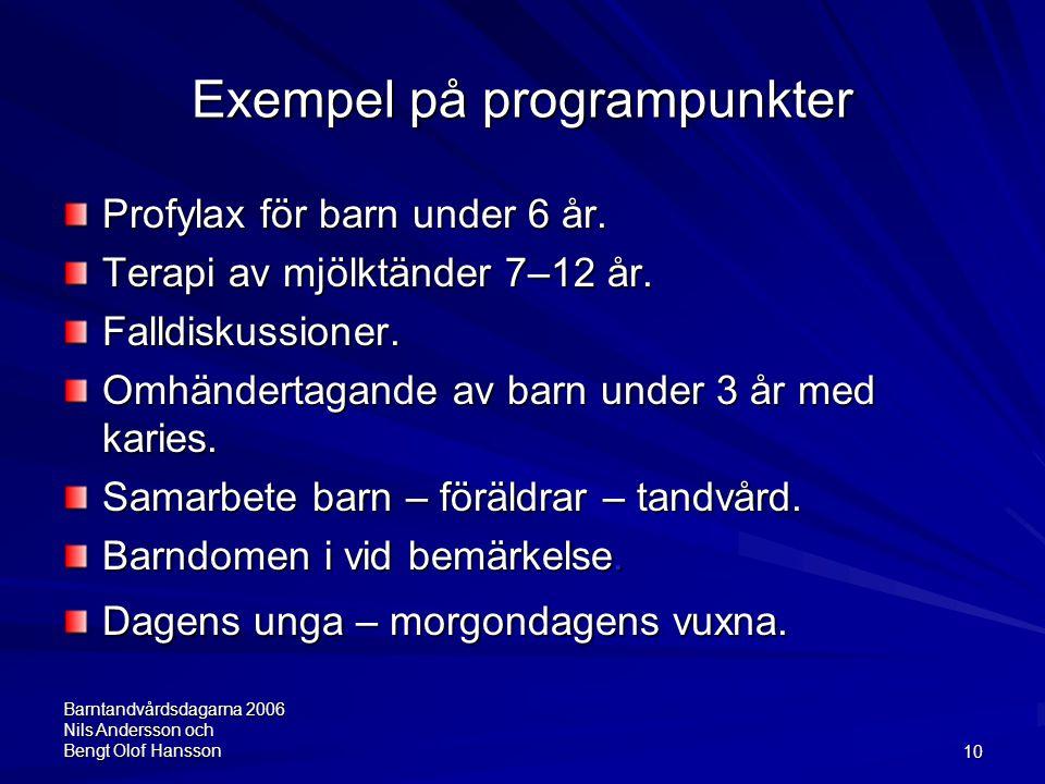 Barntandvårdsdagarna 2006 Nils Andersson och Bengt Olof Hansson10 Exempel på programpunkter Profylax för barn under 6 år. Terapi av mjölktänder 7–12 å