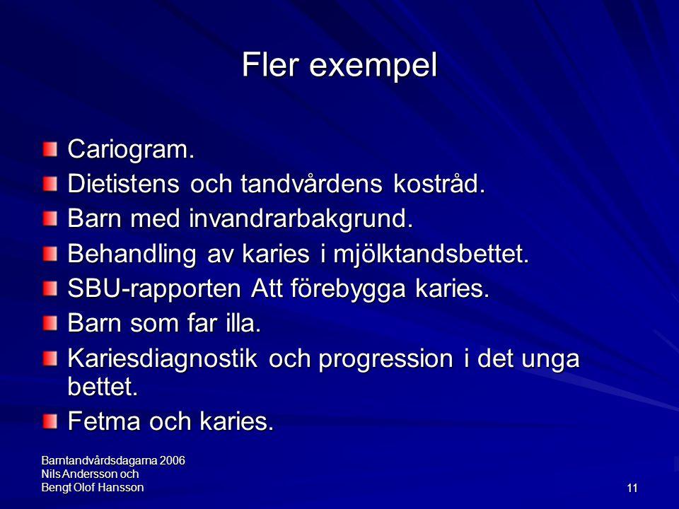 Barntandvårdsdagarna 2006 Nils Andersson och Bengt Olof Hansson11 Fler exempel Cariogram. Dietistens och tandvårdens kostråd. Barn med invandrarbakgru