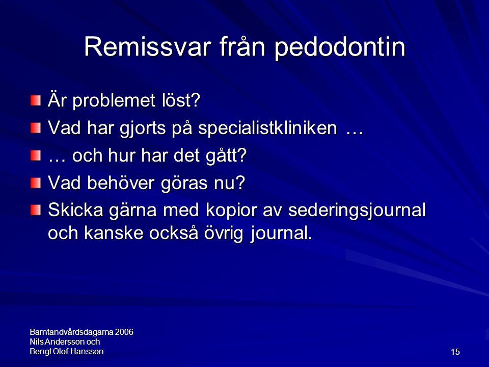 Barntandvårdsdagarna 2006 Nils Andersson och Bengt Olof Hansson15 Remissvar från pedodontin Är problemet löst? Vad har gjorts på specialistkliniken …