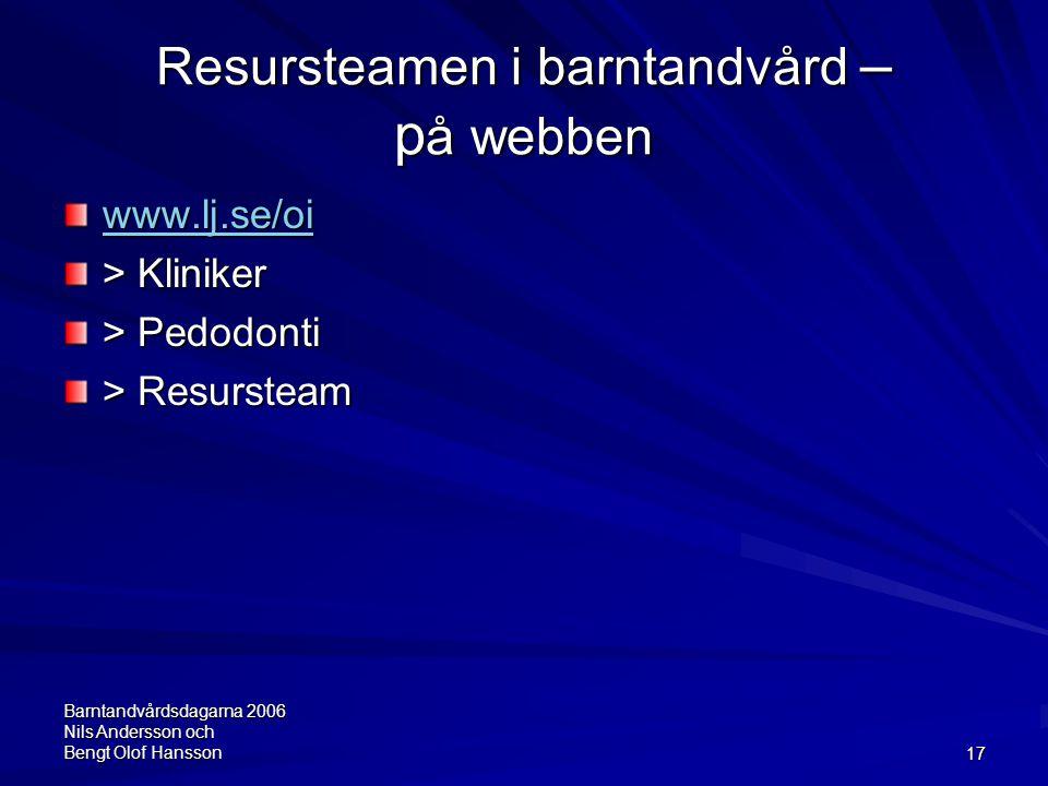 Barntandvårdsdagarna 2006 Nils Andersson och Bengt Olof Hansson17 Resursteamen i barntandvård – p å webben www.lj.se/oi > Kliniker > Pedodonti > Resur