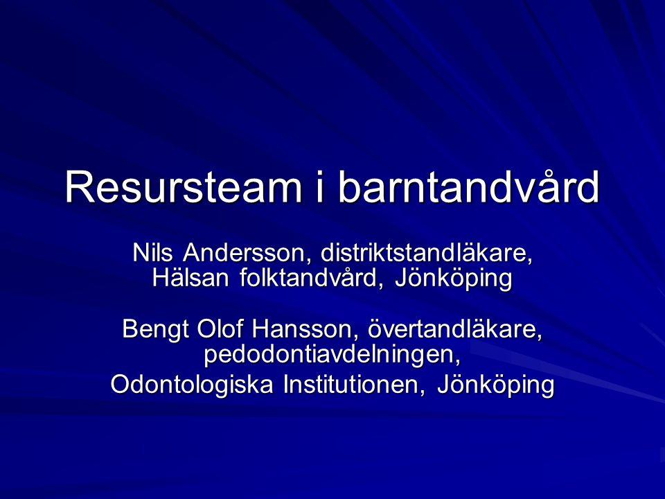 Nils Andersson, distriktstandläkare, Hälsan folktandvård, Jönköping Bengt Olof Hansson, övertandläkare, pedodontiavdelningen, Odontologiska Institutio
