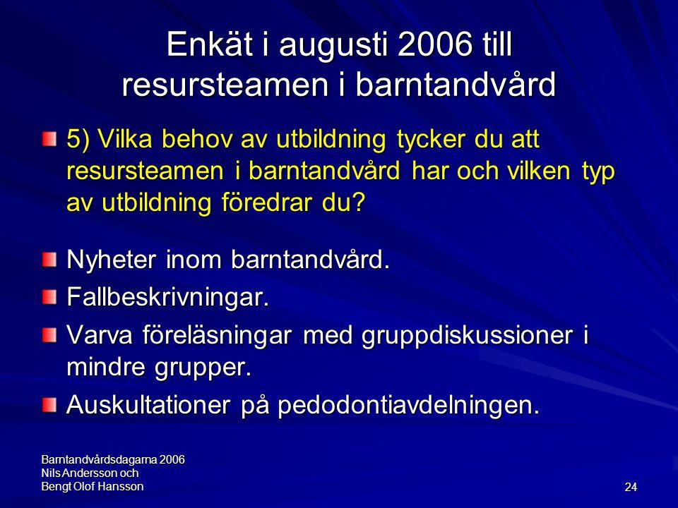 Barntandvårdsdagarna 2006 Nils Andersson och Bengt Olof Hansson24 Enkät i augusti 2006 till resursteamen i barntandvård 5) Vilka behov av utbildning t