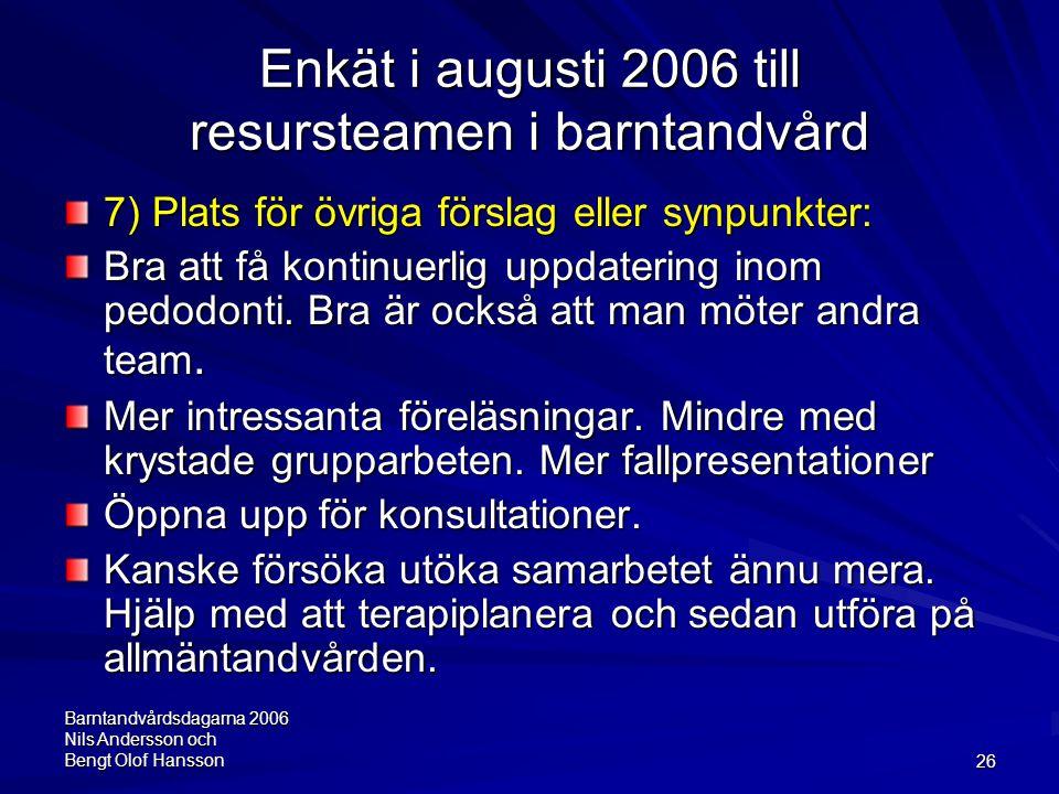 Barntandvårdsdagarna 2006 Nils Andersson och Bengt Olof Hansson26 Enkät i augusti 2006 till resursteamen i barntandvård 7) Plats för övriga förslag el