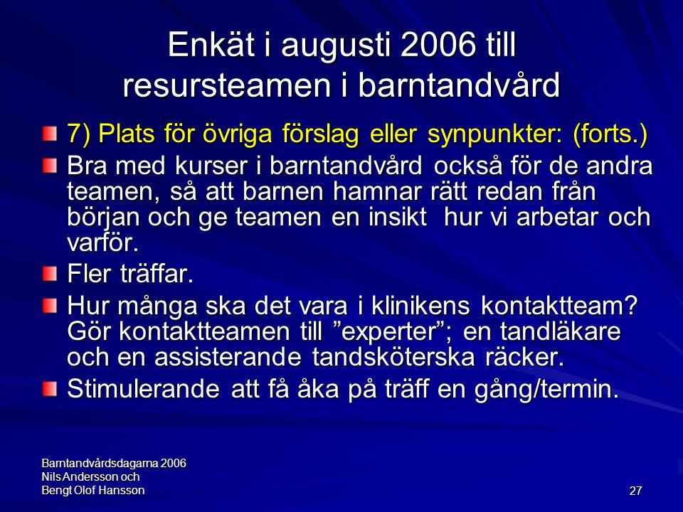 Barntandvårdsdagarna 2006 Nils Andersson och Bengt Olof Hansson27 Enkät i augusti 2006 till resursteamen i barntandvård 7) Plats för övriga förslag el