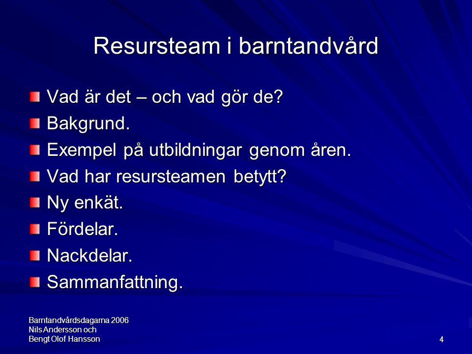 Barntandvårdsdagarna 2006 Nils Andersson och Bengt Olof Hansson4 Resursteam i barntandvård Vad är det – och vad gör de? Bakgrund. Exempel på utbildnin