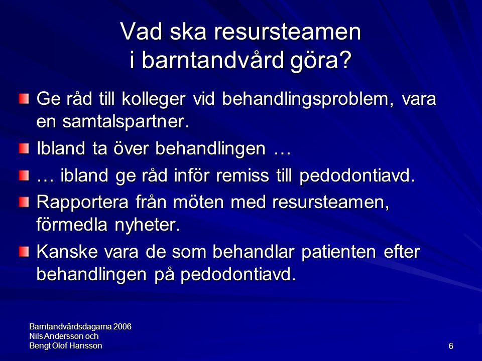 Barntandvårdsdagarna 2006 Nils Andersson och Bengt Olof Hansson6 Vad ska resursteamen i barntandvård göra? Ge råd till kolleger vid behandlingsproblem