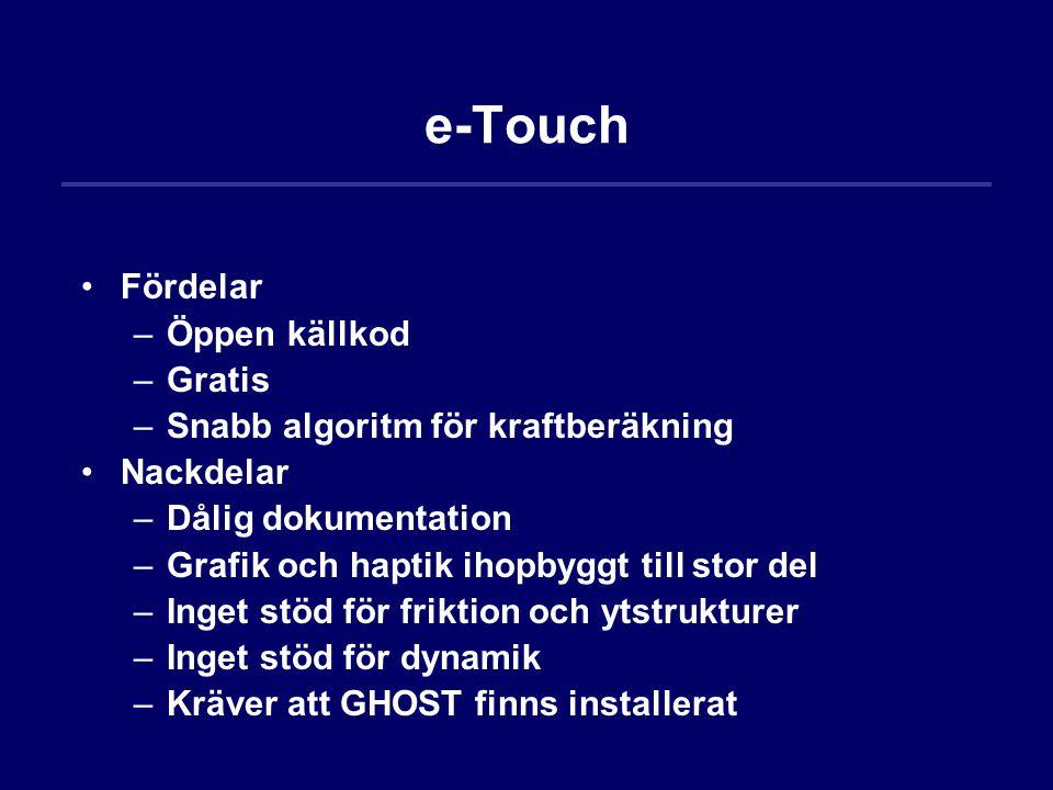 e-Touch Fördelar –Öppen källkod –Gratis –Snabb algoritm för kraftberäkning Nackdelar –Dålig dokumentation –Grafik och haptik ihopbyggt till stor del –