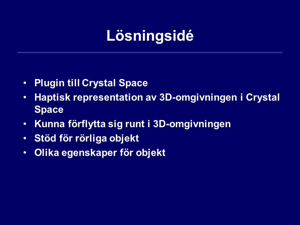 Lösningsidé Plugin till Crystal Space Haptisk representation av 3D-omgivningen i Crystal Space Kunna förflytta sig runt i 3D-omgivningen Stöd för rörl